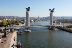 """The Gustave Flaubert bridge.""  It allows sail makers called ""Armada"" to navigate on the Seine.  This event took place every 2 years.  Rouen, Upper Normandy, France."