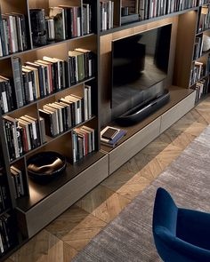 Bookcase Good, Great, or just OK? Bookcase 7 DIY Old Rustic Wood Furniture Projects 13 Ways to Rethink the Foot of Your Bed 62 Home Library Design Ideas With Wooden Bookcase, Bookcase Wall, Wall Shelving, Bookshelves Tv, Living Room Tv, Home And Living, Vibeke Design, Muebles Living, Home Libraries