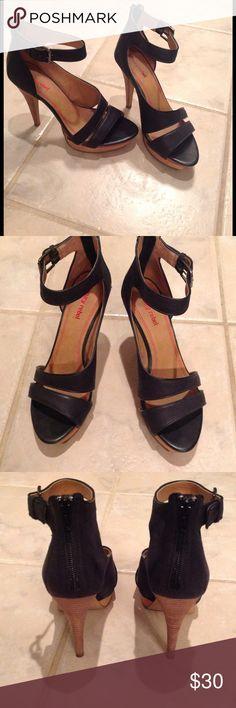 Luxury Rebel heels size 38 in black leather Gently used heels in great condition! Approx 4 inch heel. Luxury Rebel Shoes Heels