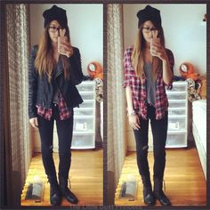 Plaid, leather jacket, & a beanie. http://www.jessydust.com/2012/10/back-to-school-outfits-and-giveaway.html