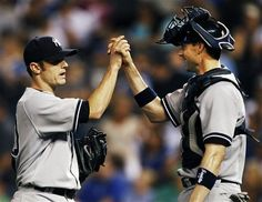 GAME 26: Friday, May 4, 2012 - New York Yankees relief pitcher David Robertson (30) is congratulated by catcher Chris Stewart (19) following their 6-2 win in a baseball game against the Kansas City Royals in Kansas City, Mo. (AP Photo/Orlin Wagner)