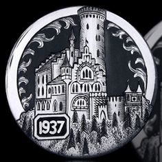 ANDY GONZALES HOBO NICKEL - CATHEDRAL - 1937 BUFFALO NICKEL Pewter Art, Hobo Nickel, Coin Art, Copper Penny, My Precious, Coin Collecting, Metal Art, Coins, Small Stuff
