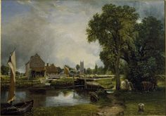 Dedham Lock and Mill (1820) | Oil painting, Dedham Mill (painted) |  | John Constable, born 1776 - died 1837