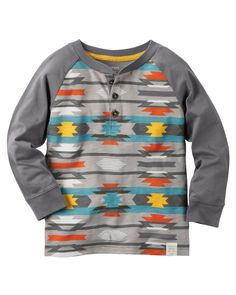 Featuring a cool geo-print, this boys' Carter's henley tee is a fun addition to his wardrobe. Baby Boy Tops, Carters Baby Boys, Toddler Boys, Kids Fashion Boy, School Fashion, Toddler Fashion, Carter Kids, Long Sleeve Henley, Boy Outfits