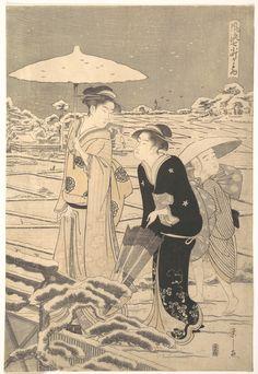 """Hosoda Eishi Title:Kayoi Komachi, from the series """"Seven Elegant Episodes of the Poet Komachi"""" (Fûryû nanakomachi kayoi) Date:ca. 1795"""