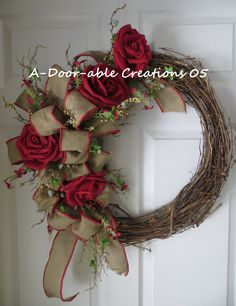 Grapevine Wreath..Burlap Flowers & Bow by ADoorableCreations05
