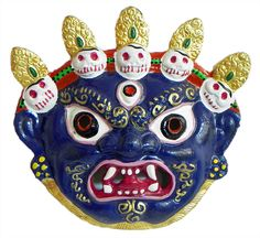Wrathful Buddhist Deity Mahakala, the Protector of Dharma - Wall Hanging Mask (White metal)