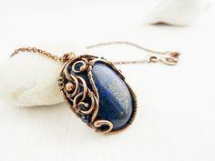 lapis lazuli pendant -Wire pendant - Wire jewelry - Copper pendant