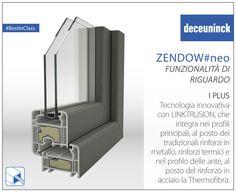 I plus di Zendow#neo 2: Tecnologia innovativa Deceuninck, attraverso la sua nuova tecnologia LINKTRUSION, integra nei profili principali, al posto dei tradizionali rinforzi in metallo, rinforzi termici, costituiti da una sagoma in PVC rigido, un cuore di PVC espanso e cavi d'acciaio che migliorano esponenzialmente la performance termica dei serramenti. Inoltre nelle ante il classico rinforzo in acciaio viene sostituito dalla Thermofibra all'interno del profilo.  #Deceuninck #plus #tecnologia…
