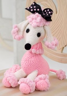 Pom-pom yarn creates wonderful accents on this poodle amigurumi. Make this intermediate amigurumi crochet pattern for an adorable poodle friend. All Free Crochet, Cute Crochet, Crochet For Kids, Crochet Crafts, Crochet Baby, Crochet Projects, Knit Crochet, Free Knitting, Crochet Ideas