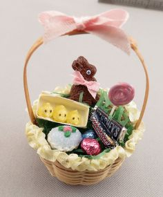 Dollhouse Miniature Filled Easter Basket by miniholiday on Etsy, $24.99