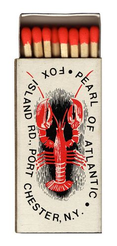 Great Lobster Illustration on this matchbook - Pearl of the Atlantic (via Unkē E. Flickr)