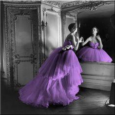 Purple Dress Black and White Photo