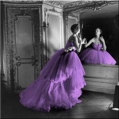 Purple Dress Black and White Photo