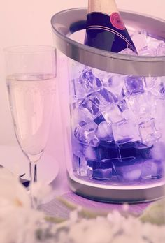 Chilling bubbly with colour. #LED