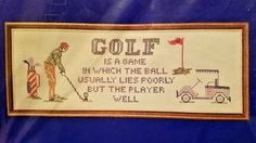 Golf Lies Needles N Hoops Printed Cross Stitch Sampler Kit 7 x 19 in 312 Funny #NeedlesandHoops #Sampler