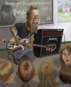 For everything Metallica check out Iomoio Funny Caricatures, Celebrity Caricatures, James Hetfield, Hard Rock, Rock And Roll, Rock Y Metal, Memes, Heavy Metal Music, Music Artwork