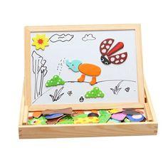 Lernspiele, iTECHOR Baby & Kleinkinder Kinder Frühförderung Lernen & Bildung Lernspielzeug Tafel Tier Holztiermagnetpuzzle Zeichnung 3D Holz Malen Tool: Amazon.de: Spielzeug