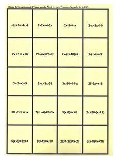 Este bingo, diseñado por mí, debe utilizarse al acabar la introducción de la resolución de ecuaciones en Primero de la ESO o cómo motivación en cursos superiores. Recuerda que para conocer las regl…