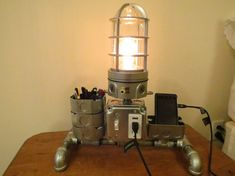 Industrial desk or night stand lamp. Desk Caddy. Charging Station. Steampunk.