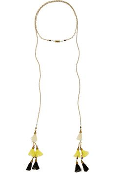 Isabel Marant Gold-plated, howlite and tassel wrap necklace  NET-A-PORTER.COM