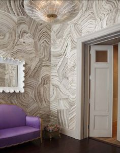 I love this wall treatment - not sure if it's wallpaper or what.  But the mirror looks like Ballards.