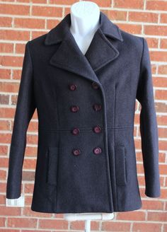 MDP Mario De Pinto Navy Wool Pea Coat Made in the USA Buttons Pockets Dressy #MDPMarioDePinto #BasicCoat
