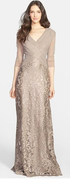 Mother of the bride dress Tadashi Shoji Sequin Lace Gown (Regular & Petite) available at Mob Dresses, Bridesmaid Dresses, Formal Dresses, Bride Dresses, Mothers Wedding Dresses, Brides Mom Dress, Sleeve Dresses, Gown Wedding, Modest Dresses