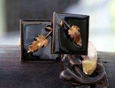 Vintage copper and black enamel design set of cufflinks with little detailed leaf design
