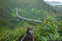 "haiku stairs oahu, hawaii Also known as the illegal ""Stairway to Heaven"" hike."