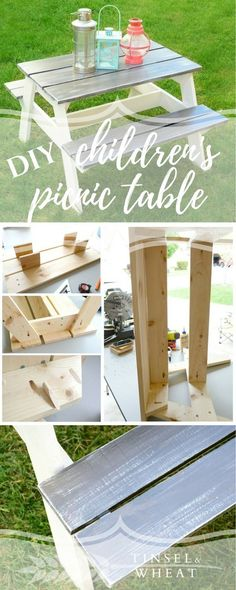 DIY Children's Picnic Table. Perfect size for toddlers and young children! Weathered grey farmhouse table finish. #woodworkingforkids #toddlerplayhouse