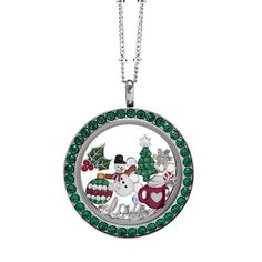Large Silver Twist Living Locket Base + Face with Emerald Swarovski Crystals Origami Owl Lockets, Origami Owl Jewelry, Locket Bracelet, Locket Charms, Floating Lockets, Floating Charms, Holiday Jewelry, Personalized Charms, Jewelry Companies