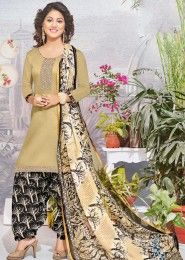 Casual Wear Beige Glace Cotton Lace Border Work Patiala Suit
