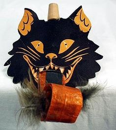 Vintage Halloween Noise Makers - Black Cat & Skull from ogees on Ruby Lane