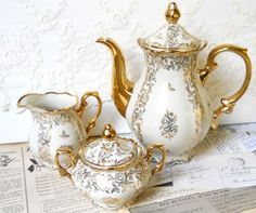 vintage teapot tea set teapot vintage floral coffeepot  teapot coffee set Mitterteich Bavaria porcelain on Etsy, $80.27