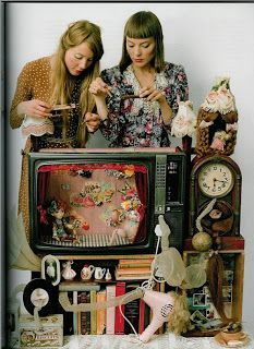 Old Television converted into Puppet Theater.