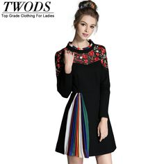 L- 5XL Autumn Mini Dress Block Ruched Patch Embroidery Long Sleeve Mock Collar Slim Fit Flare