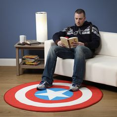 This Captain America Printed Round Rug is patriotic and will make your room look Marvel-ous. This large round rug looks just like Captain America's shield. Avengers Room, Marvel Avengers, Avengers Symbols, Avengers Shield, Marvel Heroes, Boy Room, Kids Room, Child Room, Marvel Bedroom