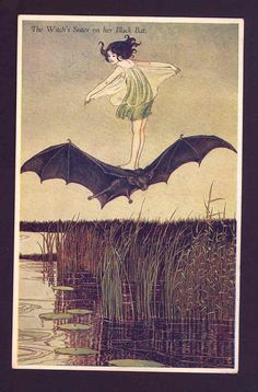 "Scarce ""Witch's Sister on Her Black Bat"" Outhwaite Halloween Fairy Postcard 
