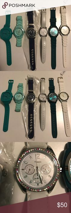 6 colorful watches NWT/EUC 2 American eagle white & teal with rubber straps. 1 timex white with multicolor gems leather strap. 1 Geneva blue & silver canvas strap. 1 target brand aqua silicone strap. 1 Nixon teal with rubber strap. All like new or new need batteries except for timex. AEO Accessories Watches