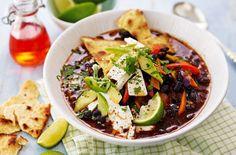 Mexican bean soup with crunchy tortillas