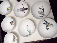 paper mache bowls... with beautiful birds