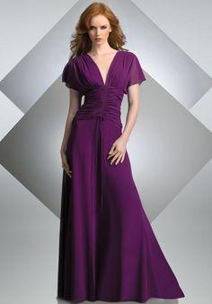 Chiffon V-neck Empire A-line Long Bridesmaid dress - Bridesmaid - WHITEAZALEA.com for mum!
