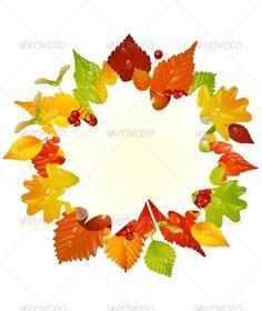 Vector autumn frame with fall leaf, chestnut, acor