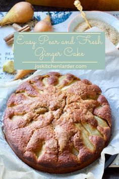 Easy Pear Fresh Ginger Cake is quick to make, light beautifully moist. Combination of sweet, sticky pears and hint of spice from fresh ginger is divine! Perfect on its own with a cuppa or with some ice cream for more elaborate dessert! Pear Recipes, Easy Cake Recipes, Baking Recipes, Dessert Recipes, Jelly Recipes, Pear And Ginger Cake, Fresh Ginger Cake Recipe, Ginger Pudding Recipe, Fall Desserts