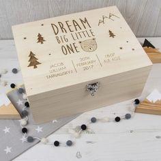Dream Big Little One - Wooden Memory Box - The Laser Boutique Wooden Memory Box, Wooden Keepsake Box, Wooden Gift Boxes, Baby Keepsake, Wooden Gifts, Wood Boxes, Keepsake Boxes, Baby Memory Boxes, Baby Gift Box