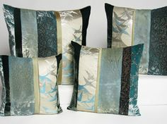 Japanese obi and hand painted velvet pillows by Kevin O'Brien Studio