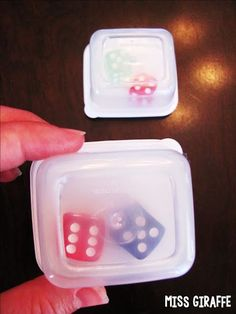 Put dice in little containers to create dice shakers for kids to grab and go during math centers... they're quieter and dice don't get lost on the floor!