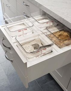 Love these built-in baking drawers! What a perfect way to keep bulk dry goods organized and fresh.