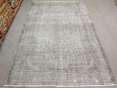 Vintage Oushak Handmade Faded   Grey by turkishkilimmarket on Etsy, $485.00